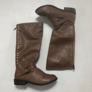 JUSTICE Girls Boots Size 3 Youth Knee High Brown
